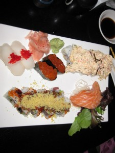 Sushi plate with assorted nigiri sushi